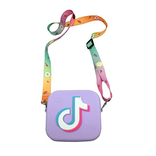 qianduo Bolso cruzado para niña, bolso de mensajero cuadrado de silicona con cremallera compacta y correa desmontable para niños