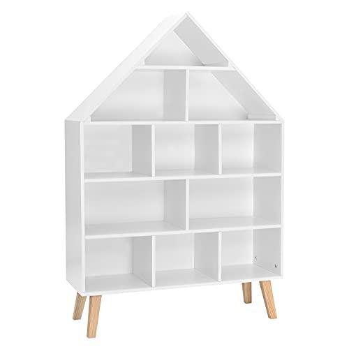 WOLTU Kinder Bücherregal Standregal Hausform Regal Kinderregal Aufbewahrungsregal für Kinder Kinderzimmerregal mit 5 Ebenen Spielzeug-Organizer Spielzeugregal, Weiß, KR010