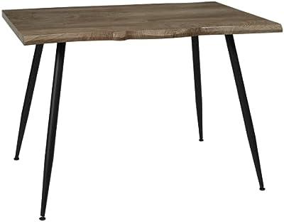 HOME DECO FACTORY HD7116 Home Deco Factory-HD7116-Table de Repas Salle à Manger Salon, Métal, Noir-Bois, 110x75x75 cm