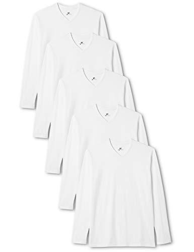 Lower East T-shirt à manches longues à encolure en V, lot de 5, Blanc, L