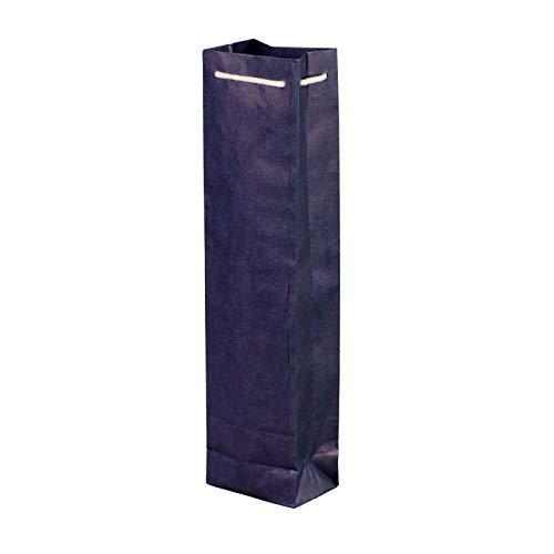 100 Stück Flaschentasche blau 95+65x380 cm | stabile Flaschentüten | Tasche für Wein mit Baumwollkordel |Premium Geschenktüten | HUTNER