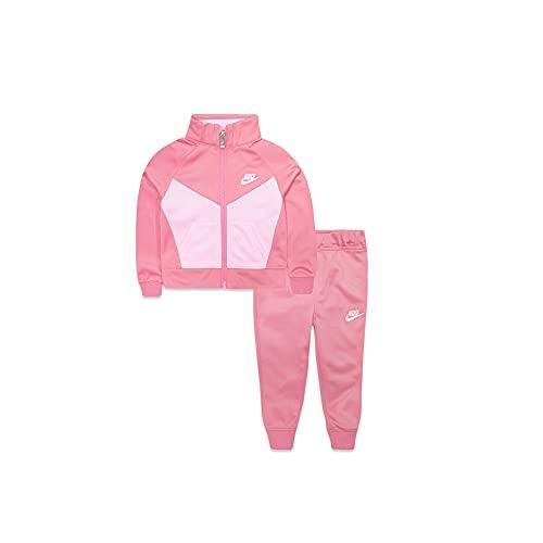 Nike Girl`s Futura Tricot Track Suit 2 Piece (Pink Gaze(36C552-AB3)/White, 6X)