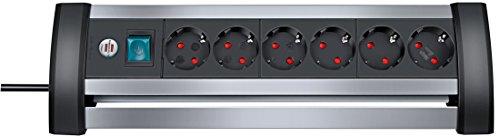 Brennenstuhl Alu-Office-Line, Steckdosenleiste 6-fach für den Schreibtisch (Tisch-Steckerleiste mit Schalter und 3m Kabel) silber/schwarz
