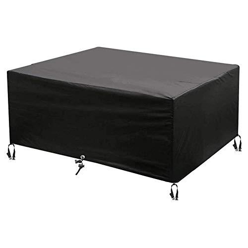 SEESEE.U Fundas para muebles de patio al aire libre 325 x 208 x 58 cm, fundas para muebles de jardín, hechas de tela Oxford resistente 420D a prueba de viento, para mesa y sillas