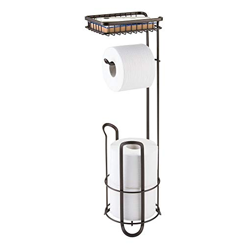 mDesign Toilettenpapierhalter ohne Bohren - Klorollenhalter fürs Badezimmer - Farbe: Bronze - Papierrollenhalter mit Bürste und Regal