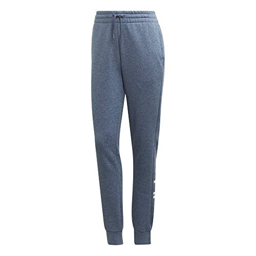 adidas Essentials Linear Pants - Pantaloni da Donna, Donna, Pantaloni, EI0672, Blu (Tech Ink mélange) / Bianco, S