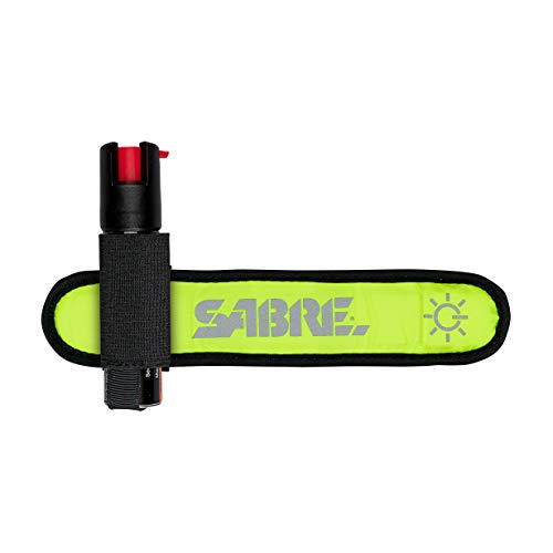 SABRE RED Runner Pepper Gel – Gel is Safer – Maximum Strength Self Defense Spray with Armband for Easy Access While Running, Bright Safety Light to Maximize Visibility - Arm Band Only Option Available