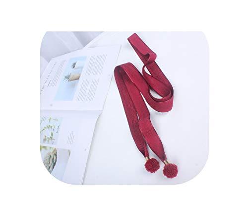 lange fijne vrouwen stof gebreide riem taille touw Pom Pom vrouwelijke voor jurk dames ceinture femme-WintRed-wintred