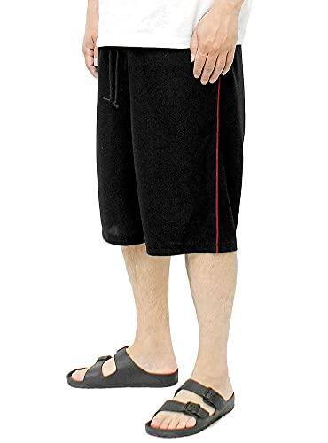 DISCUS(ディスカス) ショートパンツ メンズ 大きいサイズ 吸汗速乾 抗菌 消臭 ドライ ワッフル サイドライン ハーフパンツ 4L ブラック(49)