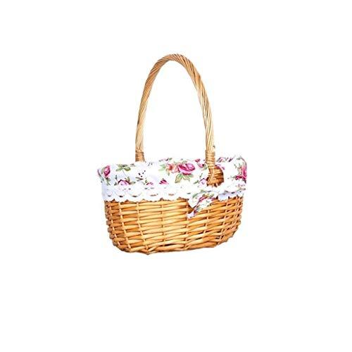 Pangocho JINchao-rustykalny koszyk na chleb, kosz wiklinowy, kosz piknikowy, owalny pleciony koszyk z wikliny, duży kosz na wino z ręką, tylko rodzina (kolor: Biały, rozmiar: L)