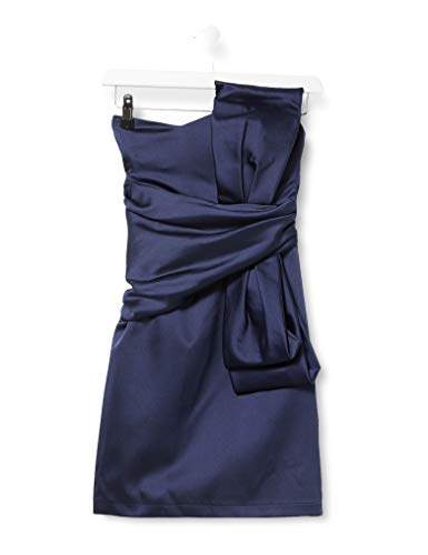Amazon-Marke: TRUTH & FABLE Damen Schulterfreies Mini-Kleid aus Satin, Blau (Navy Blue), 40, Label:L