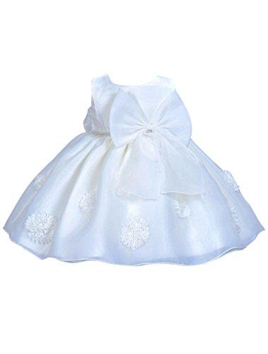 Happy Cherry Baby Süßes Kleid Taufkleid Babymädchen Kleider Kleine Prinzessin Kleid Ärmelloses Falten Kleid mit Schleife Größe 66 für die Körpergröße 62-68cm(3-6 Monate) - Weiß