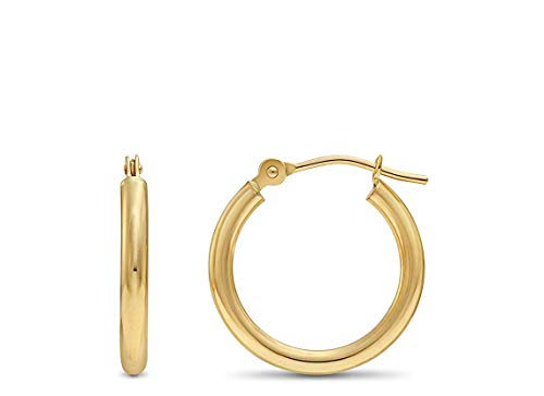 14k Yellow Gold Classic Shiny Polished Round Hoop Earrings, 2mm tube (16mm)