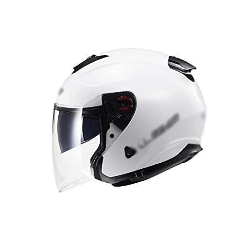 SHUTING2020 Motocicleta Half Casco Liberación rápida Tamaño Ajustable Unisex Casco Adulto Casco de Motocicleta (Color : White)