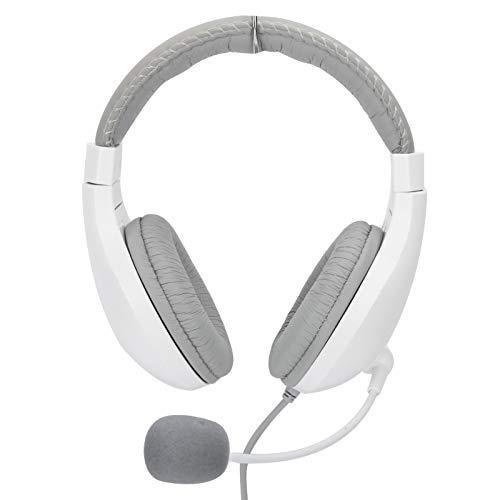 Socobeta Auriculares estéreo con Cable y 2 enchufes para Colocar sobre Las Orejas con micrófono Giratorio para Aprender a Jugar(Blanco)