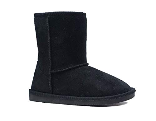 New Kids Classic Snow Boots Faux Fur Midcalf Outdoor Boots (Big Kid) (4030 Black, Numeric_4)