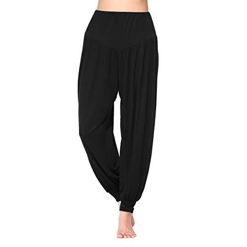 BeautyWill Freizeithosen Weiche Modal Haremshose Jogginghose Yoga Pilates Hosen Lang und 3/4 Hose für Damen XL Schwarz Lange