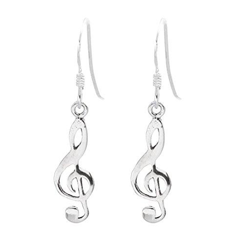 Silverly Frauen .925 Sterling Silber Violinschlüssel, Note, baumeln Ohrringe