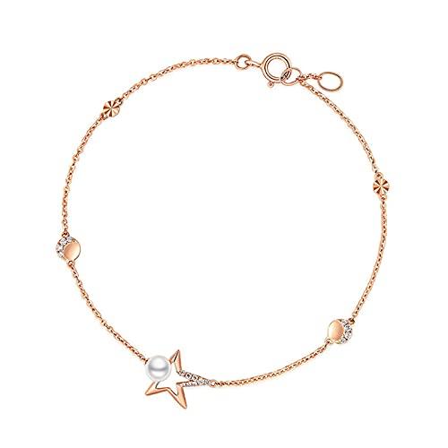 YJZW Estrella Pulsera Moderna Oro Rosa De 18 Quilates Perla Mujeres Y Muchachas Pulsera con Cadenas Extensibles Diamante Accesorios