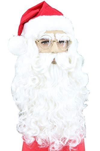XQKQ Peluca de Papá Noel con Barba Peluca Blanca Larga Pelucas de Disfraz de Papá Noel