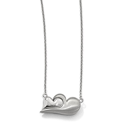Venture Petra Azar Collection 925 Sterling Silver Rhodium-Plated Polished & Satin Finish Magnetic Double Heart Adjustable Necklace