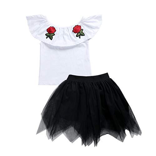 Tianhaik Baby Meisjes Mouwloos Off Schouder Geborduurd Rose Top+Tutu Rok Set Zomer Outfits