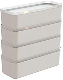 Sunware Lot de 4 paniers Q-Line avec couvercle 0,65 l pour boîte Q-Line – 182 x 70 x 55 mm – Blanc/transparent