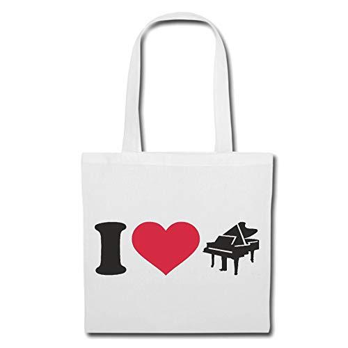 Tasche Umhängetasche I Love Klavier - Piano - KLAVIERUNTERRICHT - PIANOUNTERRICHT - Piano Spielen Einkaufstasche Schulbeutel Turnbeutel in Weiß