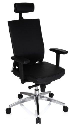 hjh OFFICE 657270 Profi Bürostuhl Porto MAX HIGH Leder Schwarz Bürosessel ergonomisch, Armlehne & Kopfstütze höhenverstellbar