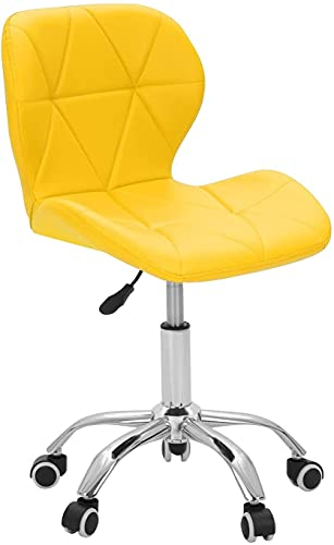 Shoze Desk Chair Leather Office Chair 360° Swivel Computer Chair Kids Study Chairs for Home Office School (Yellow)