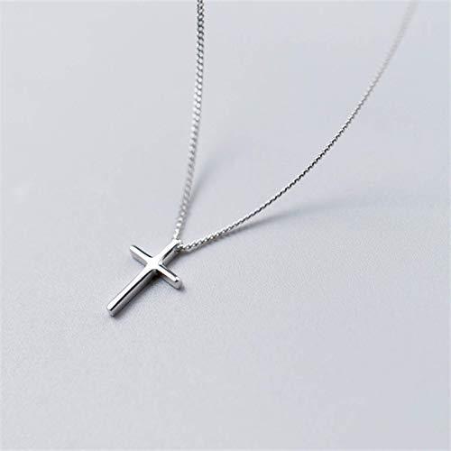 WANTME Gargantilla con colgante de cruz brillante étnica vintage 100% genuina de plata de ley 925 para mujer Regalo de joyería de fiesta para mujer