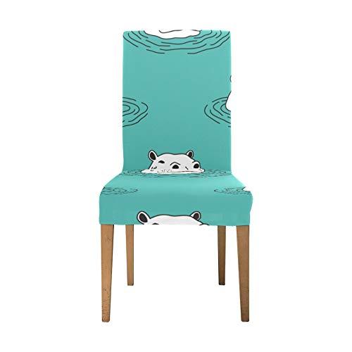 Stretch Sitzbezüge für Esszimmerstühle Aquatic Creature Cute Animal Hippo Stuhlbezug Protector Soft Stretch Küchenstuhlbezüge Waschbar Abnehmbarer Esszimmerstuhl Schonbezug für Zuhause