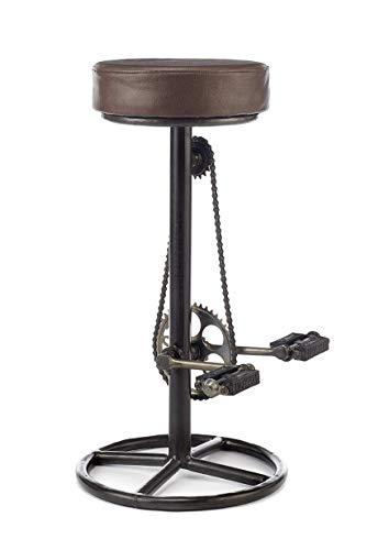 Elm home and garden Vintage retro designer rustic kitchen bar pub bicycle pedal stool leather, pd-01