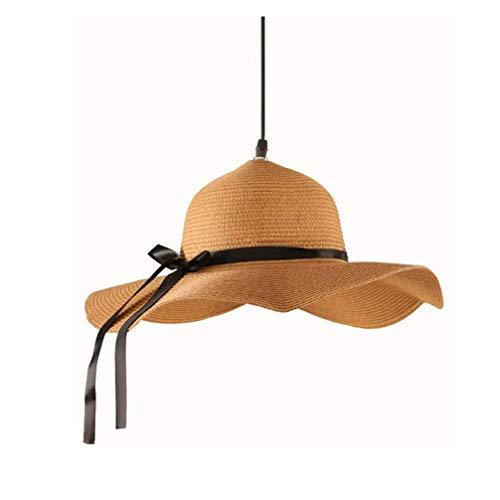 JYDQM Candelabros de bambú Hechos a Mano, luz de Techo con Forma de Sombrero de Paja Creativo, Estilo Pastoral, Pantallas de Mimbre y ratán, luz Colgante de Tejido