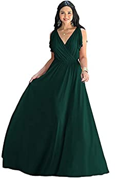 KOH KOH Womens Long V-Neck Sleeveless Flowy Prom Evening Wedding Party Guest Bridesmaid Bridal Formal Cocktail Summer Floor-Length Gown Gowns Maxi Dress Dresses Emerald Green M 8-10