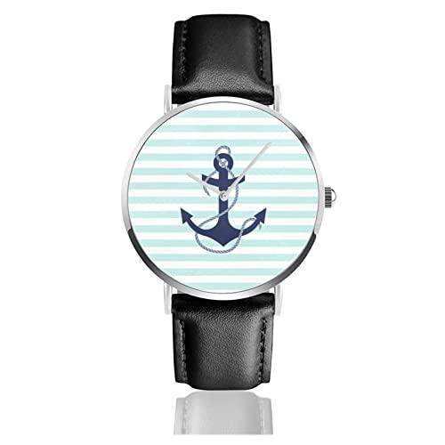 Reloj de cuero unisex clásico de moda casual reloj de cuarzo náutico Aqua y rayas blancas azul marino placa de papel de ancla reloj de acero inoxidable con correa de cuero PU