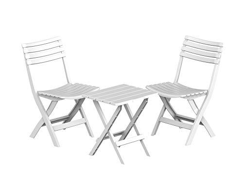 Duramax Conjunto Dos sillas y una Mesa de PVC, Blanco