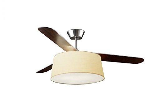 LEDS-C4 Belmont - Ventilador de techo con luz (níquel satinado, 132 cm), color beige