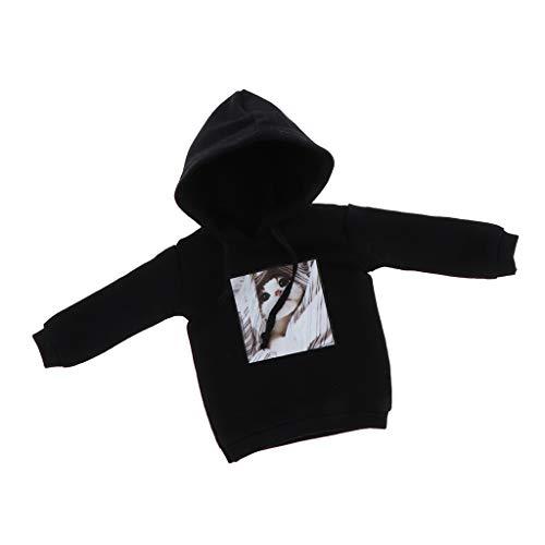 B Blesiya Niedliche Puppe Pullover Kapuzenpulli Kleidung Für 12inch Blythe Puppe Dress Up Zubehör - Schwarz