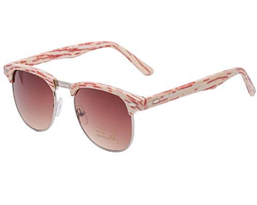 Gafas de sol unisex, estilo retro de los 80, cristales de espejo Retro red stripes regular