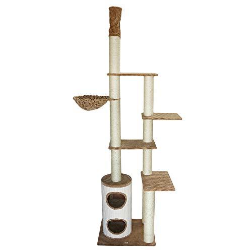 Bontoy Kratzbaum Filou Pro | Deckenhoch | Stämme mit 12 cm Durchmesser | Farbe braun | 70 x 55 x 240-260 cm | große Liegemulde mit 40cm Durchmesser
