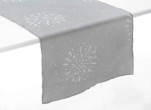Amadeus - Chemin de Table Gris en Coton Party Time 45x150 cm