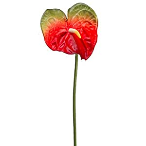 Floral Décor Supplies for Artificial Anthurium 27″ Fake Faux Real Touch Tropical Silk Flowers for DIY Flower Arrangement Decorations – Color is Red
