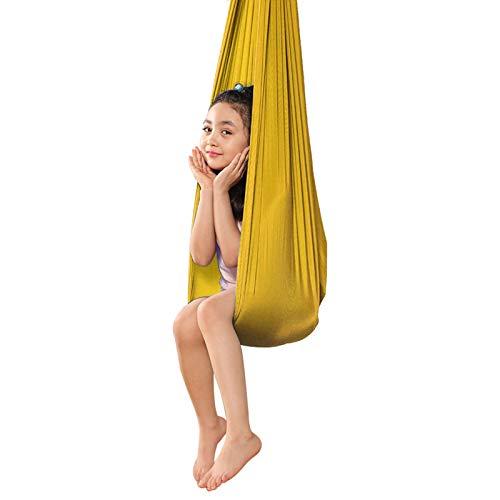 WCX Therapie-Schaukel Innenbereich Fliegen Yoga Hängematte Für Kinder Sensorische Schaukel Ideal Für Autismus ADHS Und SPD Indoor-Schaukel Stuhl (Color : Gold, Size : 150x280cm)