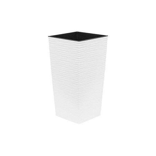 Lamela Haut 46.5 cm Pot de Fleur en Plastique Finezja sculpté, en Blanc
