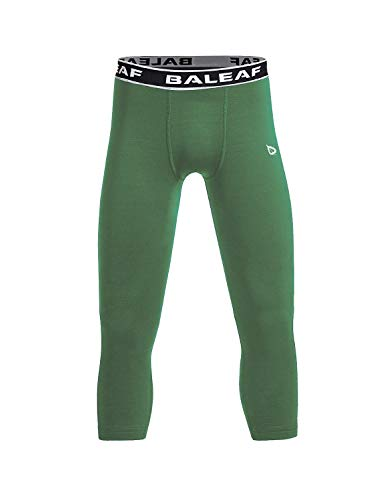 Baleaf Youth Boys' Compression Pants 3/4 Leggings Sports Tights Football Basketball Baselayer Army Green Size M