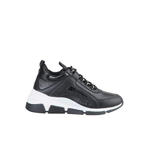 Buffalo Damen Sneaker Batter Sleek, Frauen Low Top Sneaker, Wedge-Sneaker Lady Ladies feminin elegant Women's Women,Schwarz(Black),38 EU / 5 UK