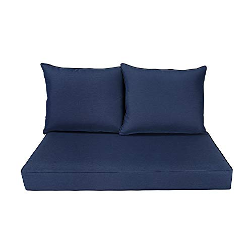BOSSIMA Patio Furniture Cushions Comofort Deep Seat Loveseat Cushion Indoor Outdoor Seating Cushions Navy Blue