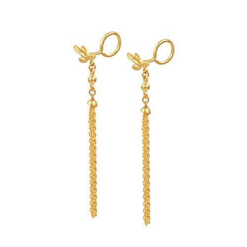 Daesar 18ct Yellow Gold Earrings for Women Leaf Tassel Drop Earrings Wedding Gold