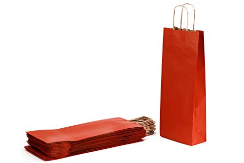 Shopper voor flessen van kraftpapier Avana Millerighe met handvat van geribd papier, rood, 14 x 9 x 40 cm, 25 stuks